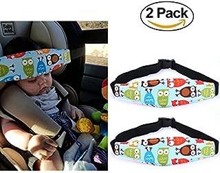 2 Pcs Infants Baby Kids Head Support Band, Carseat Straps Covers, Slumber Sling, Toddler Car Seat Adjustable Sleep Positioner, Safety Belt Protector Headrest Neck Support(Blue Owl)