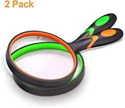 Magnifying Glass 10X, Handheld Reading Magnifier with Non-Slip Soft Rubber Handle, 75mm Magnifying Lens, Shatterproof Magnifying Mirror Reading Books, Inspection, Insects(Green/Orange)
