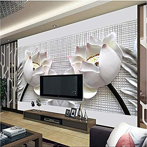 XHXI Seamless Lotus Sandstone Tv Background Wall Paper Silk Cloth Customs Photo 3D Wallpaper Paste Living Room The Wall for Bedroom Mural border-150cm×105cm