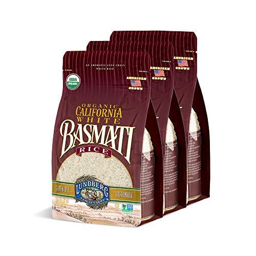 Lundberg Family Farms - Organic California White Basmati Rice, Pantry Staple, Great for Cooking, Non-Sticky, Gluten-Free, Non-GMO, USDA Certified Organic, Vegan, Kosher (32 oz, 3-Pack)
