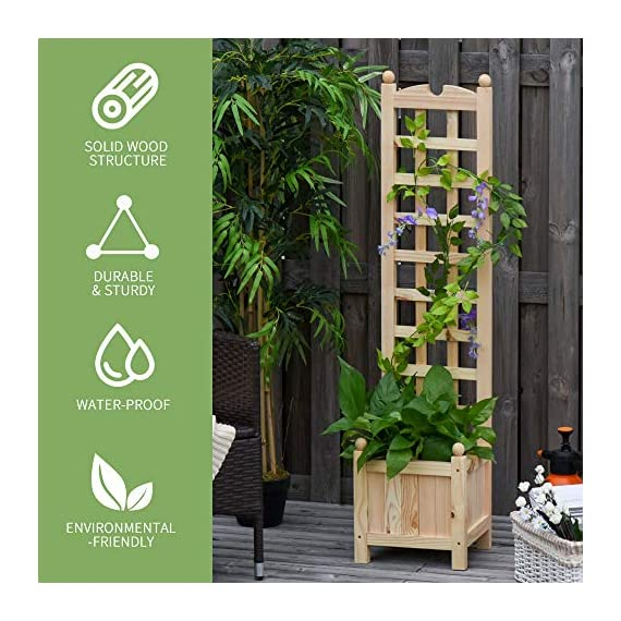"Outsunny 11.75"" x 11.5"" x 49.25"" Raised Garden Bed with Trellis Board Back & Strong Wooden Design & Materials 3 ✅WIDE USE: With this helpful flower shelf, you can cultivate plants, making it more convenient to manage and take care them, in your patio, yard, garden, greenhouse, or anywhere you'd like to grow vegetables, herbs, or flowers ✅DECORATIVE EFFECT: The grid on the back can be decorated with rattans or around LED lights, making it a beautiful landscape and create a rustic style. It also offers ample growing space for plants, such as grapes, creepers, etc ✅CUSTOMIZABLE: The flower shelf can be painted in the varnish you'd prefer to blend well with your porch, patio or balcony. Ideal for people looking for a bit of personal touch"