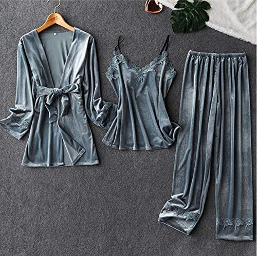 Bata de Manga Larga + Chaleco + Pantalones de Encaje Dulce Homewear Pijamas de Dormir para Mujer Traje de Invierno clido para el hogar - Pequeo
