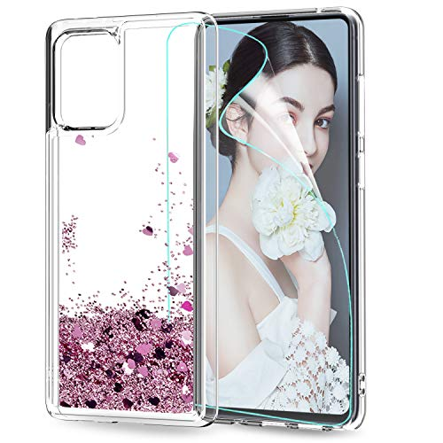 LeYi Funda Samsung Galaxy S10 Lite / A91 Silicona Purpurina Carcasa con HD Protectores de Pantalla, Transparente Cristal Bumper Telefono Gel TPU...