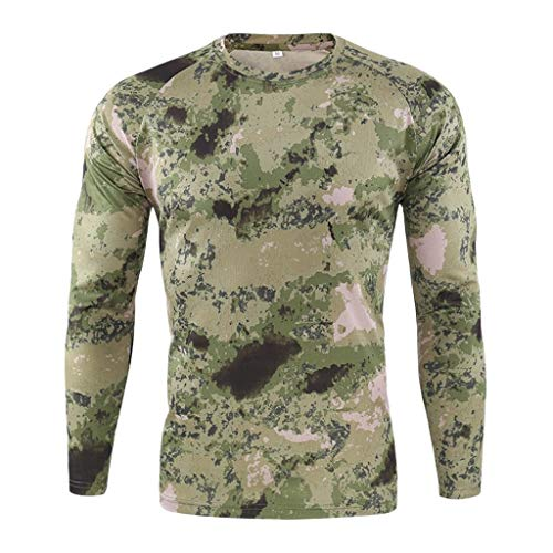Review Men' s Outdoor T-Shirt, Camo Dry Fit Moisture Wicking Long Sleeve Hunting Hiking Shirt (XL, G...