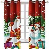KLily Cortinas De La Serie De Navidad Tela De Cortina De Sombreado Grueso para Sala De Estar Y Balcón De Dormitorio Muñeco De Nieve De Navidad Agujero Redondo Patrón De Perforación Cortina