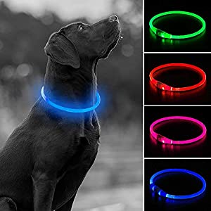 USB Rechargeable LED Dog Collar, Glow in The Dark Led Pet Collar, Water Resistant Cuttable TPU Light Up Collars for Small Medium Large Dogs