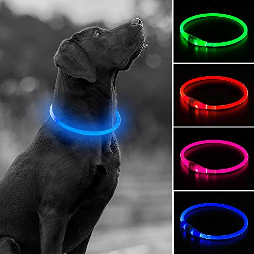 USB Rechargeable LED Dog Collar, Glow in The Dark TPU Flashing Pet Collar, Water Resistant DIY Light Up Necklaces for Nighttime Dog Walking (Blue)