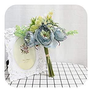 MEIshop High Quty Nordic Silk Artificial Flower Wedding Bridal Bouquet Ranunculus Christmas Valentine's Day Family Decor Fake Plants-Blue-