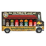 Food Truck Ultimate Grill Gift Set: Includes 2 hot sauces, 2 Seasoning rubs, 1 Wing Sauce, and 2 BBQ...