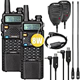Ham Radio UV-5R Pro 8W Two Way Radio with 3800mAh Battery and NA-771 Antenna and Handheld Mic 2Pack and USB Progamming Cable