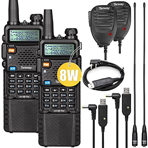 Ham Radio Walkie Talkie UV-5R Pro 8W Dual Band Two Way Radio with 3800mAh Battery and Handheld Speaker Mic and NA-771 Antenna 2Pack and One USB Programming Cable