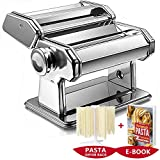 MWPO Máquina de Pasta Manual, Máquina de Pasta de Acero Inoxidable, Máquina de Pasta Manual con 2 Rodillos de Pasta Diferentes, Regalo 1x Rejilla para Secadora de Pasta 1x Receta de Pasta eBook
