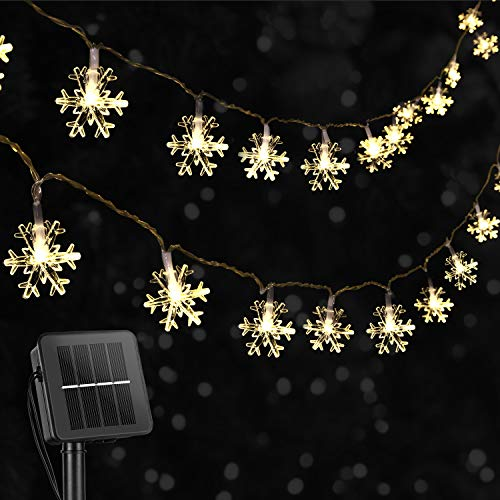 Snowflake Solar Christmas Decorations Lights - 50 LED 24.6 Ft Waterproof Fairy Lights with 8 Lighting Modes for Wedding, Party, Tree, Room, Garden, Patio, Yard, Home(Warm White)