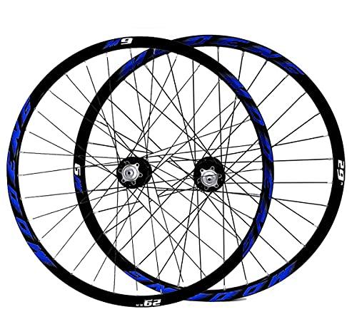 MZPWJD Ciclismo Ruedas Juego Ruedas 26'/27.5'/29' for Bicicleta Montaña Freno Disco MTB Bicicleta Llantas Doble Pared 8-10 Velocidades Liberación Rápida 32H (Color : Blue, Size : 27.5')