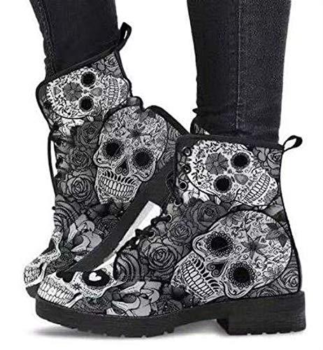 Damen Stiefel, Frauen Casual Schnürstiefel,Britische Mode Werkzeugstiefel mit Totenkopf - Frühling, Herbst & Winter (Color : Grey1, Size : 39)