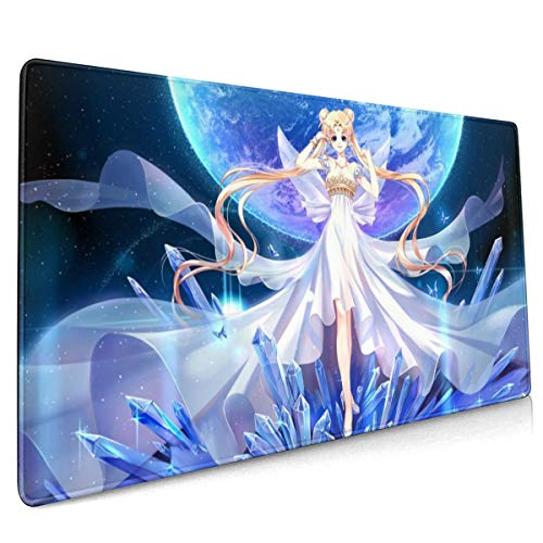 Anime Girl Sailor Moon Gaming Mouse Pad Large Custom Mousepad Pads for Laptop Computer,15.7x35.4 Inch Desk Cover Computers Keyboard Stitched Edges Office Ideal Mouse Mat