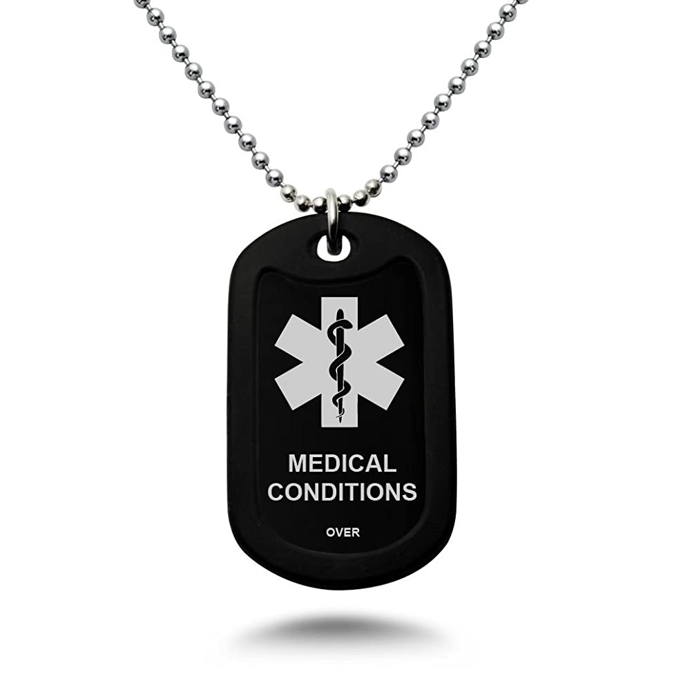 Kriskate & Co. Custom Engraved Medical Alert ID Aluminum Dog Tag Necklace with Stainless Steel Bead Chain Made in USA (Black)