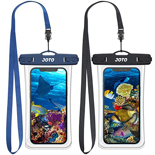 JOTO 2 uds. Funda Impermeable Móvil IPX8 Universal, Bolsa Estanca Móvil para iPhone 12 Pro MAX 11 Pro MAX XS MAX XR X 8 7 6S, Galaxy Note 20 S20 Huawei Xiaomi Redmi hasta 7' Diagonal -Negro y Azul