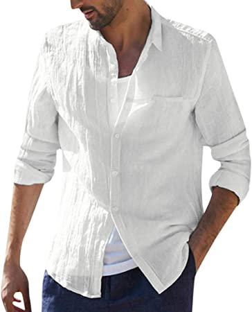 Camisa de lino y algodón para hombre ♧ Manga larga holgada ...