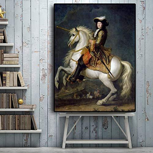 Geiqianjiumai Franse koning veer paard portret olieverfschilderij canvas poster afdrukken