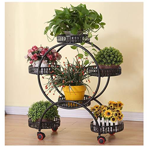 YILANJUN Pflanzenständer aus Metall, mit Bremsrollen, für den Innen, Blumenständer, Schmiedeeisen, Pflanzensäule, Weißes, Schwarzes, Rotes Kupfer, Bronze