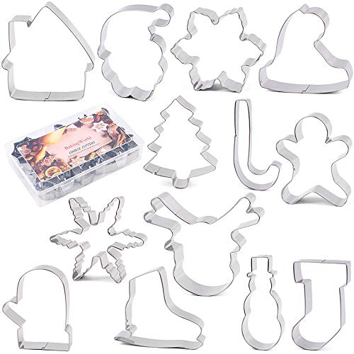 BakingWorld Large Christmas Cookie Cutter Set - 13 Pcs - 4 Inch - Santa Face Christmas Tree Stocking Hat Glove Reindeer Snowflake Snowman House Crutch and Ice Skates Stainless Steel Fondant Molds