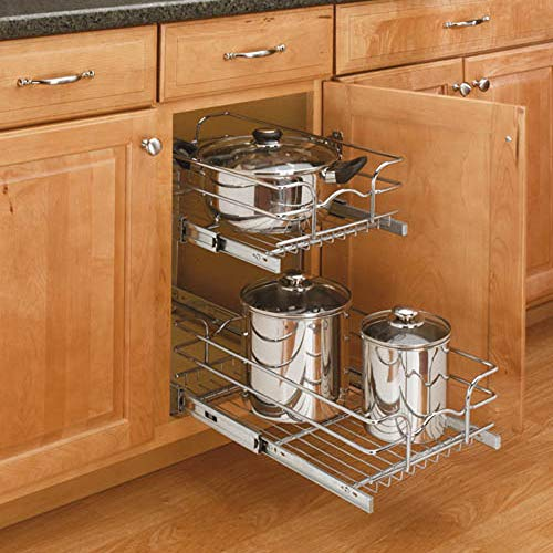 Rev-A-Shelf 5WB2-0918-CR Base Cabinet Pullout 2 Tier Wire Basket Reduced Depth Sink