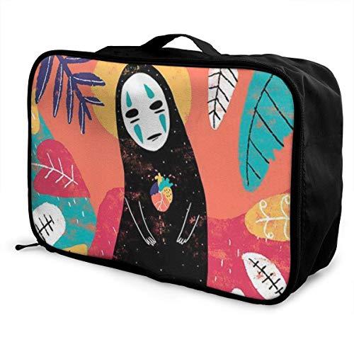 Cartoon Spirited Away No Face Man Travel Lage Duffel Bag for Women Men Kids, Waterproof Large Bapa Caity Lightweight Suitcase Portable Bags