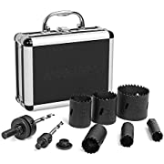 WORKPRO 9-Piece Bi Metal Hole Saw, Hole Saw Kit Made of HSS, 19-57mm, Ideal for Cutting Stainless Steel, Aluminum, Copper and Wood, with 2 Mandrels and 1 Adaptor, Aluminum Storage Case