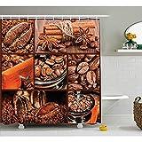 Yeuss Braune Duschvorhang, antike Mühle Kaffeebohnen Schokolade Kakao & Zimt Vintage Makro Collage,Stoff Badezimmer Dekor Set mit Haken,braun Orange 66'x72'