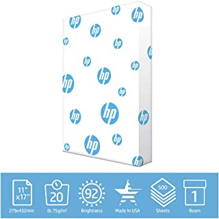 HP Printer Paper Office 20lb, 11x17 Ledger Size, 1 Ream, 500 Sheets, Made in USA, Forest Stewardship Council (FSC) Certified Resources, 92 Bright, Acid Free, Engineered For HP Compatibility, 172000R