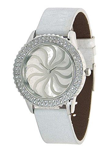Moog Paris Vertigo Reloj para Mujer con Esfera Plateada, Correa Blanca de Piel Genuina y Cristales Swarovski - M44962-101