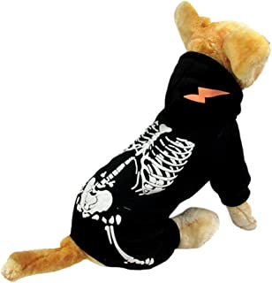 NACOCO Dog Costume Dinosaur Costumes Skeleton Hoodies for Small Dogs Clothes Halloween Day Party Skull Apparel