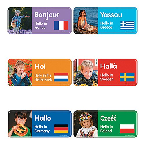 Fun Express Greetings from Around The World Cutouts - 60 Pieces - Diversity Classroom and Home Learning Supplies