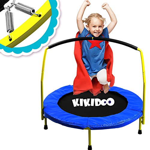 "Toddler Trampoline With Handle - 36"" Kids Trampoline With Handle - Mini Trampoline w/ Sturdy Frame, Coil Spring, Safety Padded Cover -Heavy Duty Mini Trampoline Indoor Outdoor Toddler Trampoline"