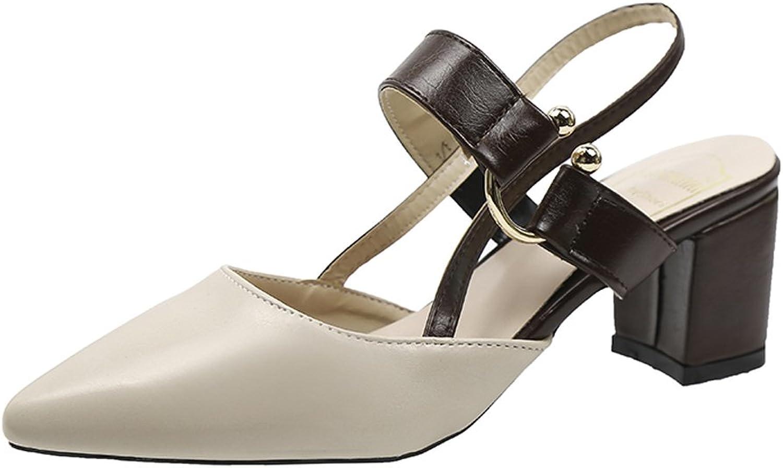 Rainbow high heels Women's Heels - 6.5cm Thick High Heel Sandals Women's Pointed shoes