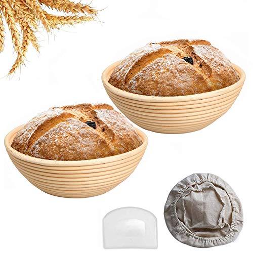 CABINA HOME 2 Stücke Gärkörbchen Rund Brotkorb Gärkorb Peddigrohr für Selbstgemachtes Brot mit Leinen Liner und Kunststoffschaber (20cm)