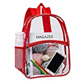 Heavy Duty Clear Backpack, Transparent PVC Concert Mini Backpacks, See Through Outdoor Bag for Security Travel, Sports Events(Red)