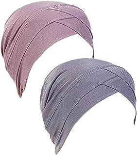 2 Piezas Sombrero de Quimio Slouchy Beanie Elástico Pañuelo la Cabeza Turbante Oncologicos para Mujer Cáncer Pérdida de Pelo