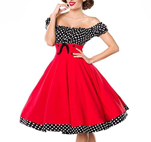 Belsira schulterfreies Swing-Kleid - rot/schwarz/weiss, Größe:S