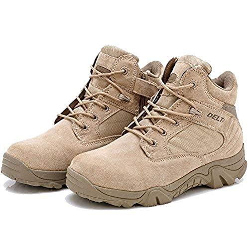 LiliChan Uomo Tattici Boots Delta Zip Laterale Uniforme Stivali Militari Lavoro della Caviglia (44, Marrone)