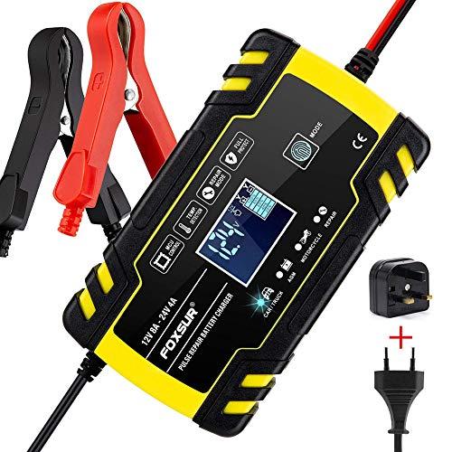 QIXUNET Intelligentes Batterieladegerät/Erhaltungsladegerät,12V-8A/24V-4 A,3-stufiges Erhaltungsladegerät für PKW,LKW,Motorräder,Boote,Rasenmäher,Geländefahrzeuge,Geländefahrzeuge,SUVs und mehr…