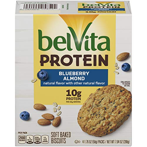 belVita Protein Soft Baked Blueberry Almond Breakfast Biscuits, 6 Boxes of 4 Packs (1 Biscuit Per Pack)