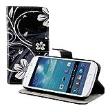 kwmobile Custodia Compatibile con Samsung Galaxy S4 Mini - Cover Magnetica Portafoglio con Stand in Simil Pelle - Case Porta Carte - Fiori Bianco/Nero