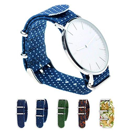 STRAP4U Nylon NATO Uhrenarmband 18mm und 20mm, Uhrband mit Dornschließe Edelstahl Wechselarmband für Daniel Wellington, Paul Hewitt, Kaptn & Son, Cluse für Damen und Herren