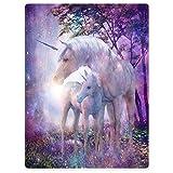 YISUMEI Decke 125x150 cm Kuscheldecken Sanft Flanell Weich Fleecedecke Fantasy Forest Einhorn Lila