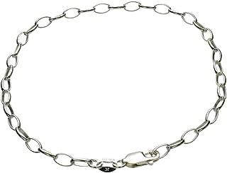 Sterling Silver Rolo Oval Clip-on Charm Adjustable Soldered Link Bracelet Italy