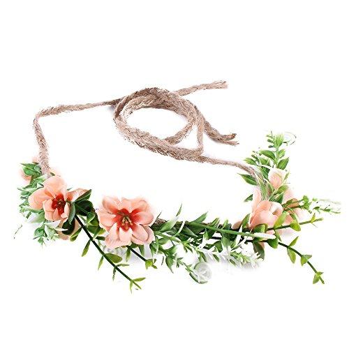 Ever Fairy Corona de flores hecha a mano floración diadema bebé niña niño arbolado hoja verde corona floral corona (marrón)