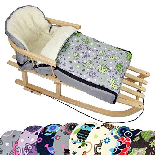 BambiniWelt Kombi-Angebot Holz-Schlitten mit Rückenlehne & Zugseil + universaler Winterfußsack (108cm), auch geeignet für Babyschale, Kinderwagen, Buggy, aus Wolle im Eulendesign (Eule $11)