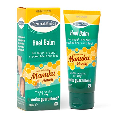 Dermatonics Manuka Honey Heel and Elbow Moisturizing & Exfoliating Cream for Dry and Cracked Heels   Dry Feet Treatment & Cracked Heel Repair for Rough, Dry and Cracked Feet, 2oz Tube